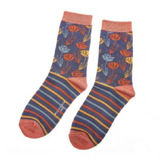Miss Sparrow London Ladies Climbing Floral Navy Socks